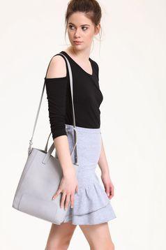 Black Top Secret casual both shoulders cut out cotton women`s blouse