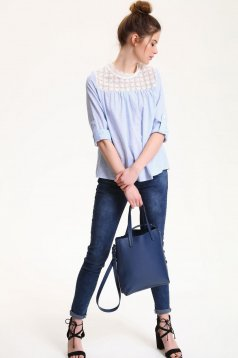 Top Secret blue casual women`s blouse with long sleeve and lace details