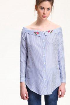 Top Secret blue casual embroidered women`s shirt off shoulder