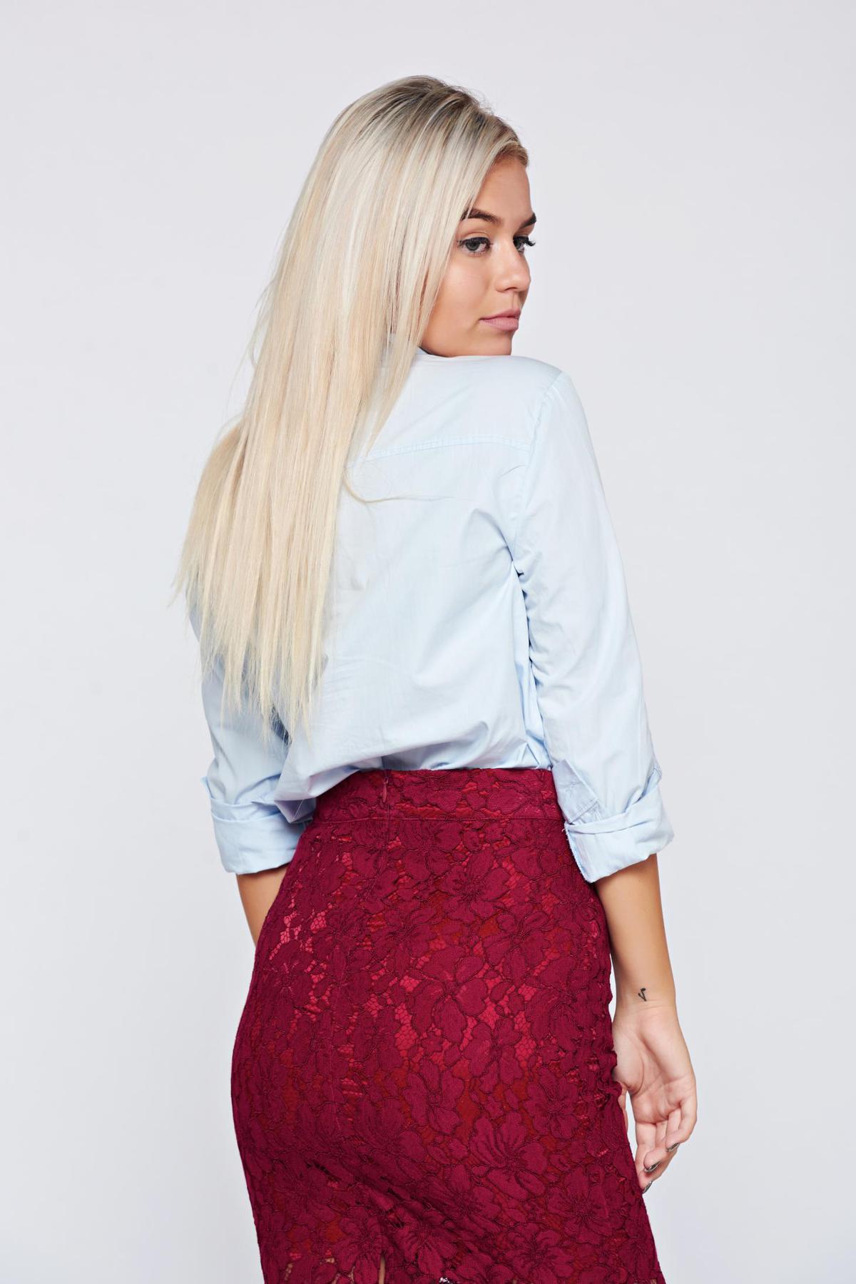 Camasa dama Top Secret albastra-deschis basic din bumbac cu maneca lunga
