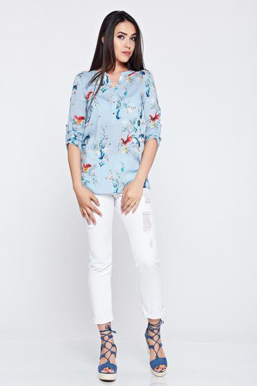 Top Secret blue flared 3/4 sleeve women`s shirt with stripes