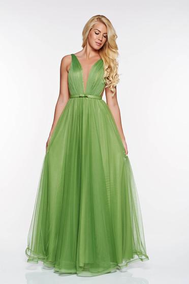 Ana Radu occasional net darkgreen dress with v-neckline bow accessory