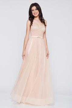 Ana Radu cream evening dress with braces and embellished accessories