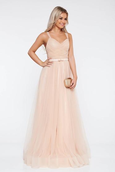 Ana Radu cream evening dresses dress with braces accessorized with tied waistband