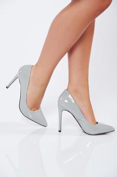Top Secret lightgrey slightly pointed toe tip shoes with high heels