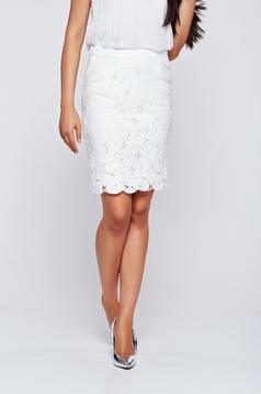 Top Secret elegant white pencil cotton skirt