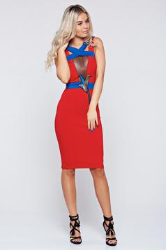 Ocassion red pencil dress cut-out bust design and embroidery details