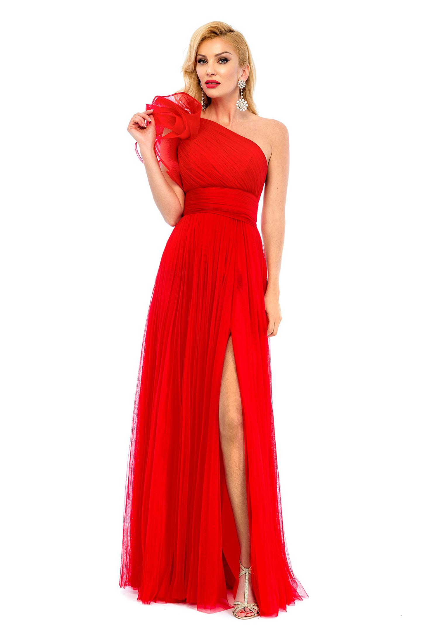 Piros Ana Radu ujjatlan a-vonalú hosszú estélyi ruha e8550e205e