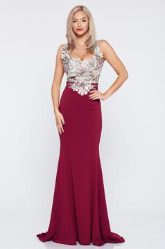 LaDonna burgundy embroidered occasional long dress with a cleavage