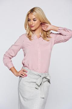 Top Secret pink flared women`s shirt with long sleeve