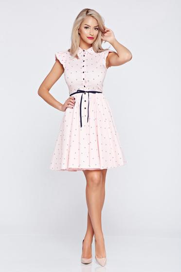 Cloche Fofy lightpink casual dress with ruffled sleeves