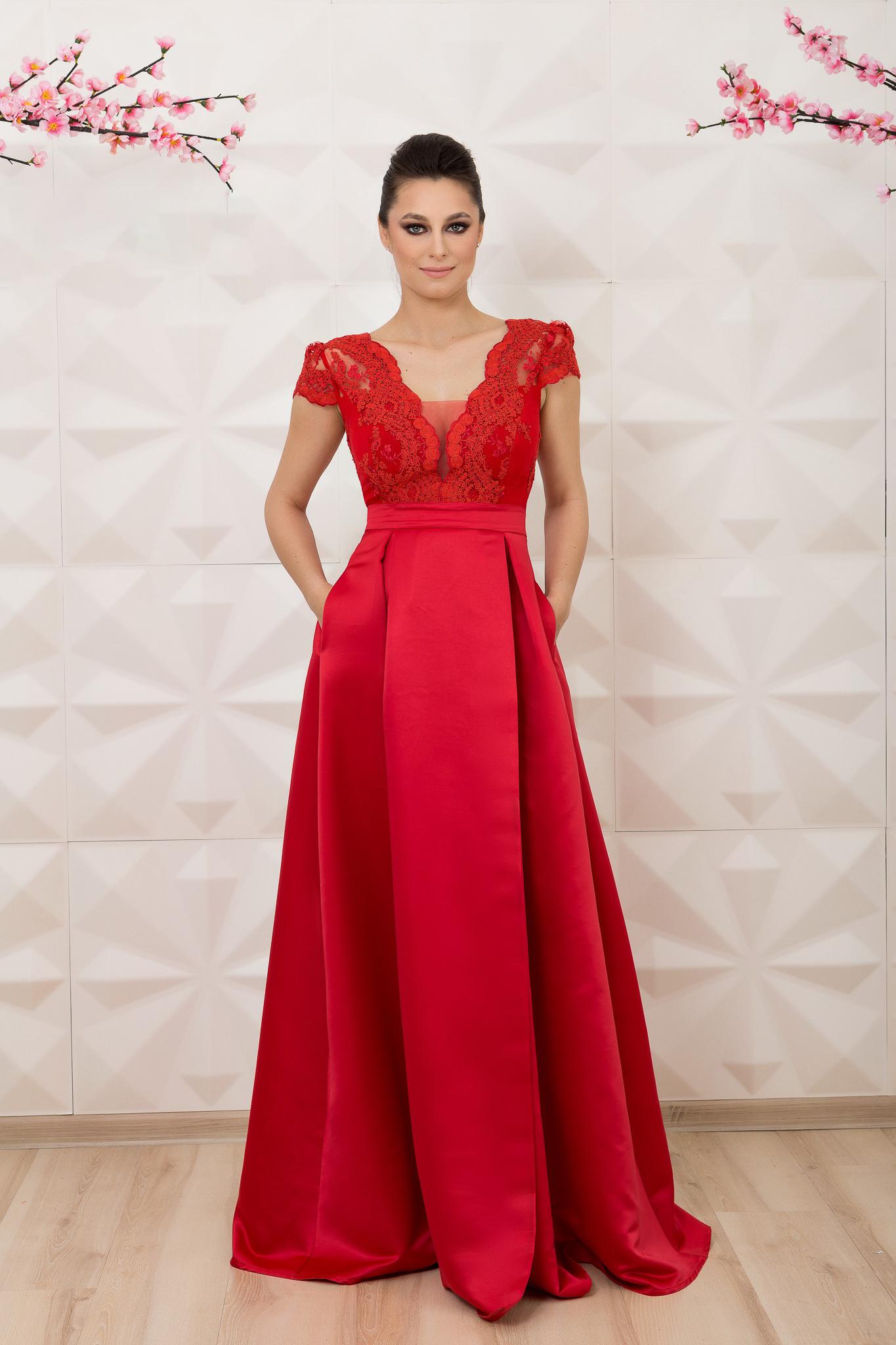 7f1e0b6d8e Piros hosszú alkalmi a-vonalú rövid ujjú Fofy ruha