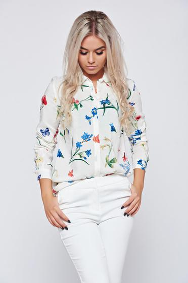 Top Secret white elegant women`s shirt with floral print with a collar