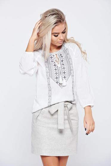 Top Secret embroidered white flared cotton women`s blouse