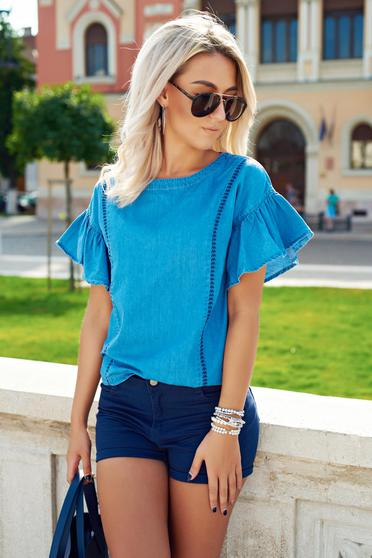 Top Secret blue casual cotton women`s blouse with bell sleeves