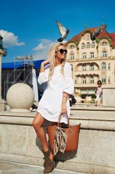 Top Secret white flared 3/4 sleeve casual dress