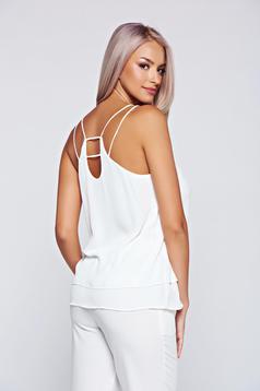Top Secret elegant white flared top shirt
