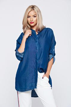 Flared long casual darkblue women`s shirt with 3/4 sleeve