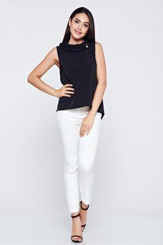 Sleeveless easy cut black women`s blouse with ruffle details