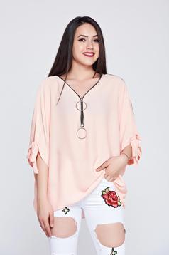 Peach easy cut airy fabric casual women`s blouse