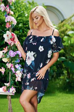 Black dress with ruffles on the chest and floral prints with straps