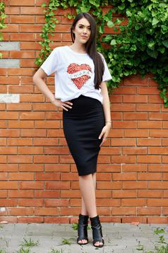 Basic black pencil skirt with elastic waist