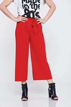 Red easy cut trousers pleats of material elastic waist
