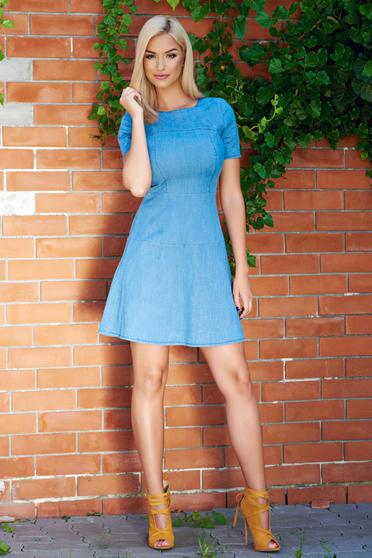Cloche blue casual dress from elastic cotton