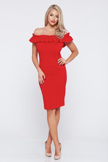 Red sleeveless on the shoulders dress from elastic fabric