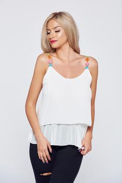 White airy fabric casual top shirt embroidery details