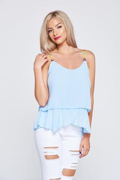 Lightblue airy fabric casual top shirt with embroidery details