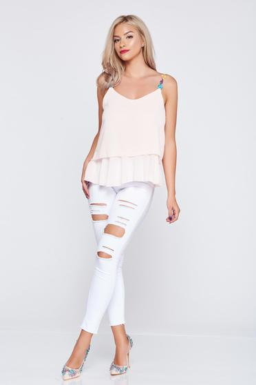 Peach airy fabric casual top shirt embroidery details