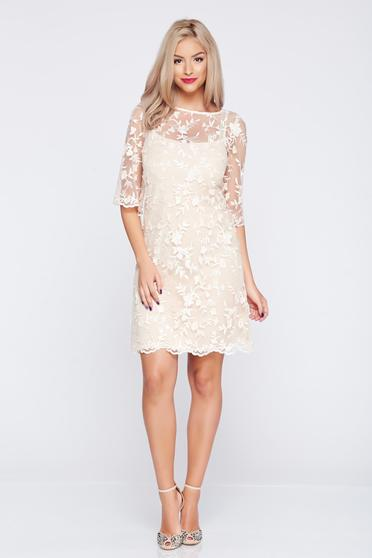 Cream LaDonna laced flared occasional dress