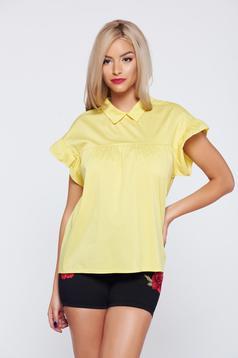 Yellow easy cut women`s shirt pointed collar short sleeve