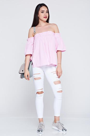 Lightpink easy cut women`s shirt with stripes and short sleeve