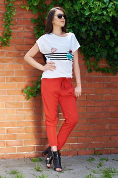 Coral elastic waist trousers with pockets