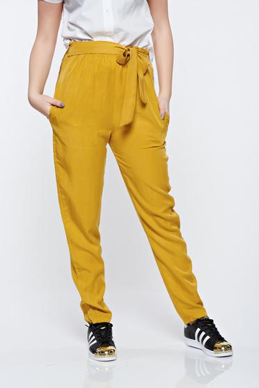 Mustard Yellow elastic waist trousers with pockets