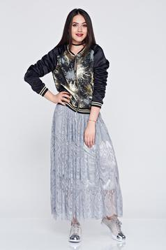 Long laced grey casual skirt