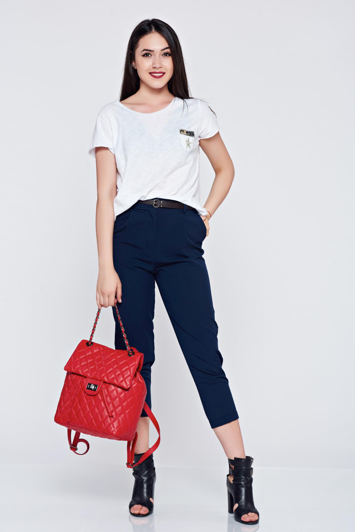 Pantaloni office cu buzunare albastru-inchis cu accesoriu tip curea