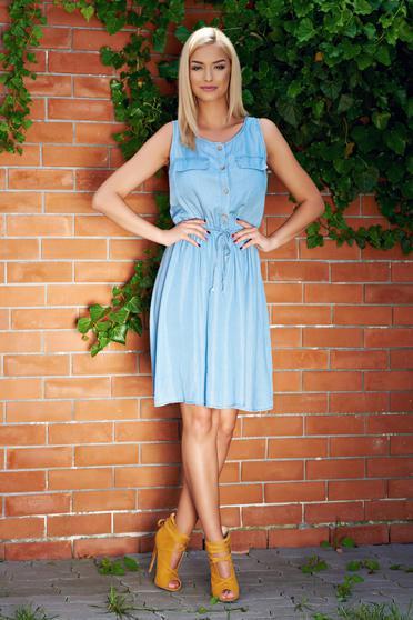 Sleeveless blue casual dress with elastic waist