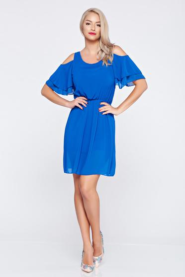 Blue voile fabric dress with elastic waist and both shoulders cut out