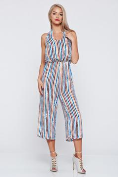 Flared sleeveless white jumpsuit with stripes