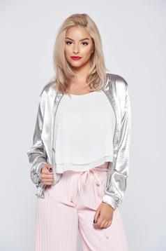 Silver casual long sleeve jacket with metallic aspect