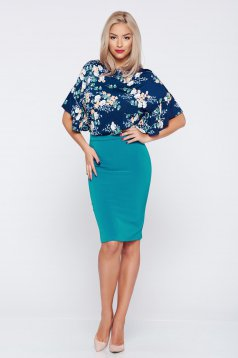 Basic short StarShinerS turquoise pencil skirt