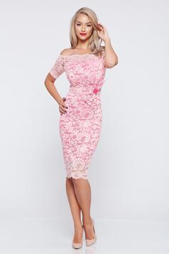 Elegant StarShinerS rosa laced pencil dress