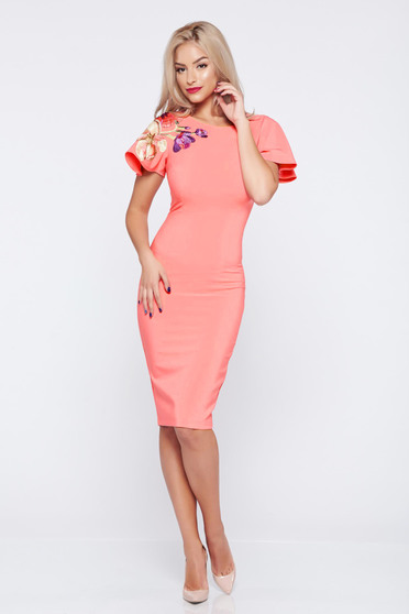 StarShinerS coral elegant pencil dress embroidery details