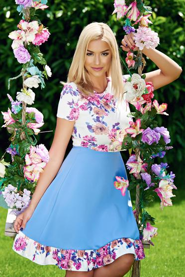 StarShinerS blue short sleeve cloche dress with floral prints