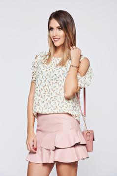 Nude PrettyGirl voile fabric women`s blouse with ruffled sleeves