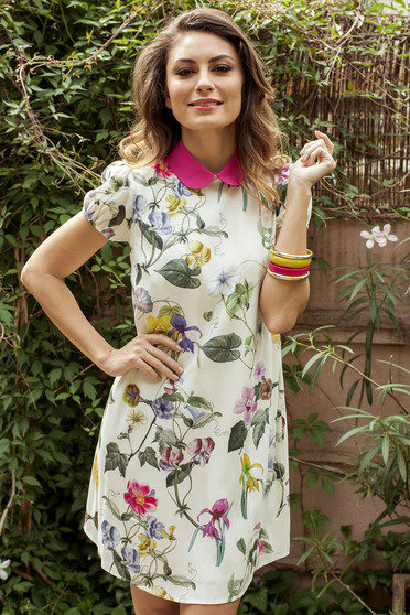 White PrettyGirl voile fabric dress with floral prints and round collar