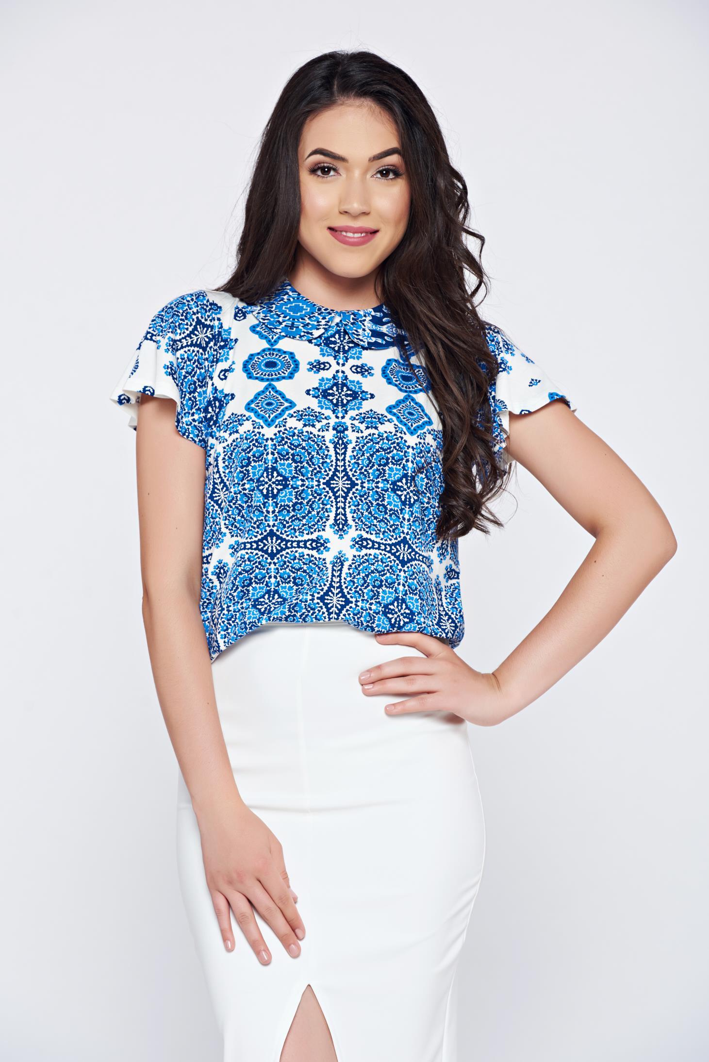 Bluza dama din material vaporos PrettyGirl albastra cu imprimeuri grafice
